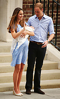 LONDON, ENGLAND - JULY 23: Prince William, Duke of Cambridge and Catherine, Duchess of Cambridge, depart The Lindo Wing with their newborn son at St Mary's Hospital on July 23, 2013 in London, England. The Duchess of Cambridge yesterday gave birth to a boy at 16.24 BST and weighing 8lb 6oz, with Prince William at her side. The baby, as yet unnamed, is third in line to the throne and becomes the Prince of Cambridge.<br /> <br /> <br /> People:  PRINCE WILLIAM _CATHERINE MIDDLETON