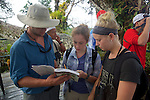 Pat, Maggie & Rachel With Bird Identification Book On Canopy Tower, Tiputini