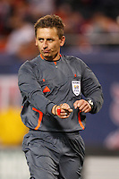 Referee Alex Prus points to the spot for a penalty kick. The New York Red Bulls defeated the Columbus Crew 2-0 during a Major League Soccer match at Giants Stadium in East Rutherford, NJ, on April 5, 2008.