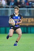 20120803 Copyright onEdition 2012©.Free for editorial use image, please credit: onEdition..JJ Kilmartin of Bath Rugby in action against London Welsh 7s at The Recreation Ground, Bath in the Final round of The J.P. Morgan Asset Management Premiership Rugby 7s Series...The J.P. Morgan Asset Management Premiership Rugby 7s Series kicked off again for the third season on Friday 13th July at The Stoop, Twickenham with Pool B being played at Edgeley Park, Stockport on Friday, 20th July, Pool C at Kingsholm Gloucester on Thursday, 26th July and the Final being played at The Recreation Ground, Bath on Friday 3rd August. The innovative tournament, which involves all 12 Premiership Rugby clubs, offers a fantastic platform for some of the country's finest young athletes to be exposed to the excitement, pressures and skills required to compete at an elite level...The 12 Premiership Rugby clubs are divided into three groups for the tournament, with the winner and runner up of each regional event going through to the Final. There are six games each evening, with each match consisting of two 7 minute halves with a 2 minute break at half time...For additional images please go to: http://www.w-w-i.com/jp_morgan_premiership_sevens/..For press contacts contact: Beth Begg at brandRapport on D: +44 (0)20 7932 5813 M: +44 (0)7900 88231 E: BBegg@brand-rapport.com..If you require a higher resolution image or you have any other onEdition photographic enquiries, please contact onEdition on 0845 900 2 900 or email info@onEdition.com.This image is copyright the onEdition 2012©..This image has been supplied by onEdition and must be credited onEdition. The author is asserting his full Moral rights in relation to the publication of this image. Rights for onward transmission of any image or file is not granted or implied. Changing or deleting Copyright information is illegal as specified in the Copyright, Design and Patents Act 1988. If you are in any way unsure of your right to publish this image