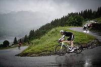 eventual stage winner Ben O'Connor (AUS/AG2R Citroën) descending the Col du Pré (HC/1748m) towards the Barrage de Roselend in, yet again, grim conditions.<br /> <br /> Stage 9 from Cluses to Tignes (145km)<br /> 108th Tour de France 2021 (2.UWT)<br /> <br /> ©kramon