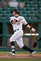 Fresno Grizzlies third baseman JD Davis (21) follows through on his swing during a Pacific Coast League game against the Salt Lake Bees at Chukchansi Park on May 14, 2018 in Fresno, California. Fresno defeated Salt Lake 4-3. (Zachary Lucy/Four Seam Images)