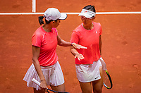 Den Bosch, The Netherlands, April 17, 2021,    Maaspoort, Billie Jean King Cup  Netherlands -  China , seccond day doubles match:  Yfan XU  (CHN) and Shuai Zang (CHN)<br /> Photo: Tennisimages/Henk Koster