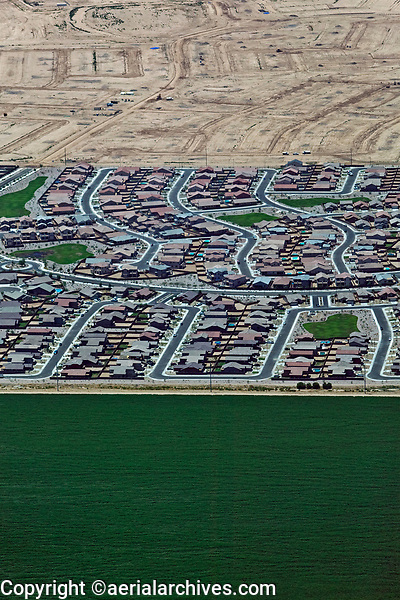 aerial photograph of the transformation of farm land to residential development in California