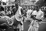 Followers of Iscon in a procession during Rath Yatra in Kolkata, India.