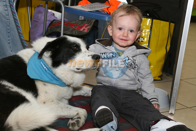 Lennon Neville with Charlie the dog who was rescued from DAR 6 years ago as Drogheda Animal Rescue collect in the Town Centre...Photo NEWSFILE/Jenny Matthews.(Photo credit should read Jenny Matthews/NEWSFILE)....This Picture has been sent you under the condtions enclosed by:.Newsfile Ltd..The Studio,.Millmount Abbey,.Drogheda,.Co Meath..Ireland..Tel: +353(0)41-9871240.Fax: +353(0)41-9871260.GSM: +353(0)86-2500958.email: pictures@newsfile.ie.www.newsfile.ie.FTP: 193.120.102.198.