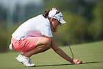 TAOYUAN, TAIWAN - OCTOBER 26:  Nicole Castrales of USA lines up a put on the 9th hole during the day two of the Sunrise LPGA Taiwan Championship at the Sunrise Golf Course on October 26, 2012 in Taoyuan, Taiwan. Photo by Victor Fraile / The Power of Sport Images
