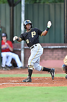 Bristol Pirates second baseman Raul Siri (10) looses his bat swinging a pitch during a game against the Elizabethton Twins at Joe O'Brien Field on July 30, 2016 in Elizabethton, Tennessee. The Twins defeated the Pirates 6-3. (Tony Farlow/Four Seam Images)