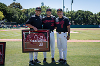 STANFORD, CA - MAY 29: Senior Zach Grech, Thomas Eager, David Esquer before a game between Oregon State University and Stanford Baseball at Sunken Diamond on May 29, 2021 in Stanford, California.