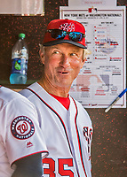 30 April 2017: Washington Nationals Bench Coach Chris Speier watches play from the dugout during the 8th inning against the New York Mets at Nationals Park in Washington, DC. The Nationals defeated the Mets 23-5, with the Nationals setting several individual and team records, in the third game of their weekend series. Mandatory Credit: Ed Wolfstein Photo *** RAW (NEF) Image File Available ***