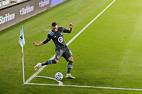 ST PAUL, MN - OCTOBER 28: Jan Gregus #8 of Minnesota United FC takes a corner kick during a game between Colorado Rapids and Minnesota United FC at Allianz Field on October 28, 2020 in St Paul, Minnesota.