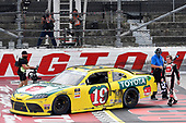 #19: Brandon Jones, Joe Gibbs Racing, Toyota Supra 03 Dash Championship celebrates his win