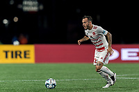 FOXBOROUGH, MA - AUGUST 21: Emiliano Terzaghi #32 of Richmond Kickers dribbles at midfield during a game between Richmond Kickers and New England Revolution II at Gillette Stadium on August 21, 2020 in Foxborough, Massachusetts.