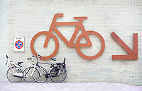 Nederland Amsterdam . Plek om fietsen te stallen bij het IJdock
