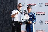 HPD President Ted Klaus, Felix Rosenqvist, Chip Ganassi Racing Honda, podium