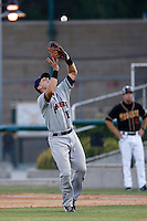 M.P. Cokinos #17 of the Lancaster JetHawks catches a pop up during a game against the Modesto Nuts at John Thurman Stadium on August 8, 2013 in Modesto, California. Modesto defeated Lancaster, 6-2. (Larry Goren/Four Seam Images)