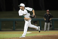 South Florida Bulls pitcher Ray Delphey #5 delivers a pitch during a game against the Illinois State Redbirds at the USF Baseball Complex on March 14, 2012 in Tampa, Florida.  South Florida defeated Illinois State 10-5.  (Mike Janes/Four Seam Images)