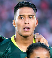 BOGOTA-COLOMBIA, 08-03-2020: Sebastian Gomez de Atletico Nacional durante partido entre Independiente Santa Fe y Atletico Nacional de la fecha 8 por la Liga BetPlay DIMAYOR 2020 jugado en el estadio Nemesio Camacho El Campin de la ciudad de Bogota. / Sebastian Gomez of Atletico Nacional during the match between Independiente Santa Fe and Atletico Nacional on date 6 for the BetPlay League DIMAYOR 2020 played at the Nemesio Camacho El Campin stadium in Bogota city. / Photo: VizzorImage / Daniel Garzon / Cont.
