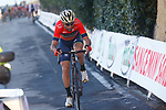 Vincenzo Nibali (ITA) Bahrain-Merida attacks alone on the Poggio di Sanremo during the 109th edition of Milan-Sanremo 2018 running 294km from Milan to Sanremo, Italy. 17th March 2018.<br /> Picture: LaPresse/POOL Luca Bettini | Cyclefile<br /> <br /> <br /> All photos usage must carry mandatory copyright credit (© Cyclefile | LaPresse/POOL Luca Bettini)