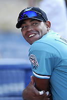 Vladimir Nunez of the Florida Marlins before a 2002 MLB season game against the Los Angeles Dodgers at Dodger Stadium, in Los Angeles, California. (Larry Goren/Four Seam Images)