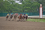 23 May 2010: The horses in race 6 enter the stretch at Monmouth Park, Oceanport, New Jersey.