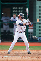 John La Prise (2) of the Virginia Cavaliers at bat against the Hartford Hawks at The Ripken Experience on February 27, 2015 in Myrtle Beach, South Carolina.  The Cavaliers defeated the Hawks 5-1.  (Brian Westerholt/Four Seam Images)