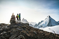 The Chamonix to Zermatt Glacier Haute Route. In late August 2017, we ran the tour in mountain running gear, running shoes, and all the necessary glacier travel and crevasse rescue gear. On the summit of the 3780 meter Tête Blanche with the Matterhorn and Dent d'Hérens in the background.