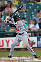 Fresno Grizzlies outfielder Francisco Peguero #14 at bat during the Pacific Coast League baseball game against the Round Rock Express on May 19, 2012 at The Dell Diamond in Round Rock, Texas. The Grizzlies defeated the Express 10-4. (Andrew Woolley/Four Seam Images).