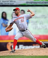 Harrisburg Senators pitcher Matt Grace (21) during game against the Trenton Thunder at ARM & HAMMER Park on July 31, 2013 in Trenton, NJ.  Harrisburg defeated Trenton 5-3.  (Tomasso DeRosa/Four Seam Images)