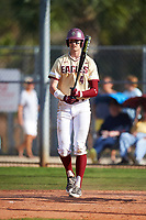 Boston College Eagles first baseman Mitch Bigras (4) at bat during a game against the Central Michigan Chippewas on March 3, 2017 at North Charlotte Regional Park in Port Charlotte, Florida.  Boston College defeated Central Michigan 5-4.  (Mike Janes/Four Seam Images)
