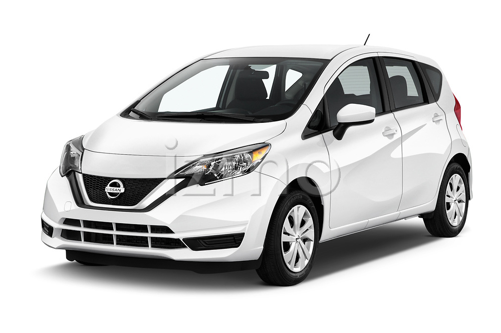 2018 Nissan Versa Note S 5 Door Hatchback angular front stock photos of front three quarter view
