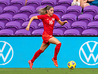 ORLANDO, FL - FEBRUARY 24: Janine Beckie #16 of Canada sprints forward with the ball during a game between Brazil and Canada at Exploria Stadium on February 24, 2021 in Orlando, Florida.