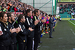 Hibernian 3 Alloa Athletic 0, 12/09/2015. Easter Road stadium, Scottish Championship. Home team manager Alan Stubbs joining in a minute's applause at Easter Road stadium before the kick-off in the Scottish Championship match between Hibernian and visitors Alloa Athletic. The home team won the game by 3-0, watched by a crowd of 7,774. It was the Edinburgh club's second season in the second tier of Scottish football following their relegation from the Premiership in 2013-14. Photo by Colin McPherson.