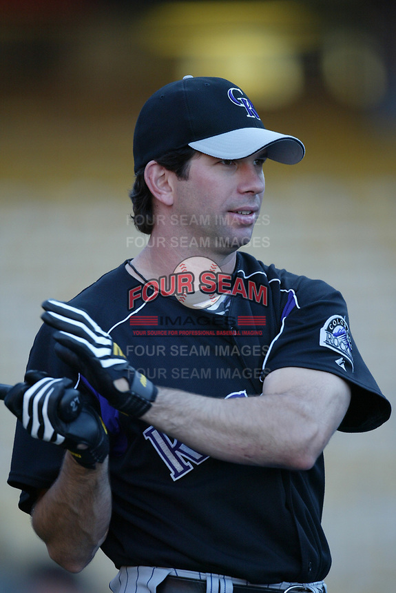 Todd Helton of the Colorado Rockies during a 2003 season MLB game at Dodger Stadium in Los Angeles, California. (Larry Goren/Four Seam Images)