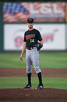 Great Falls Voyagers starting pitcher Jason Bilous (14) during a Pioneer League game against the Idaho Falls Chukars at Melaleuca Field on August 18, 2018 in Idaho Falls, Idaho. The Idaho Falls Chukars defeated the Great Falls Voyagers by a score of 6-5. (Zachary Lucy/Four Seam Images)