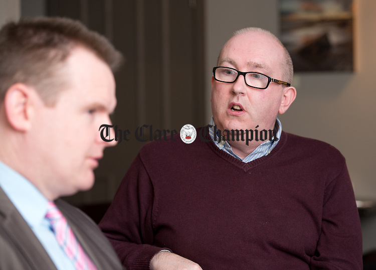 Kevin Halpin, Sinn Fein activist speaking at the Clare Champion round table General Election 2016 debate in Cairde cafe, Ennis. Photograph by John Kelly.