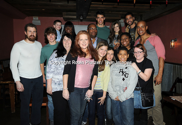 the actors and the volunteers attends The One Life To Live Benefit for The Amber Roach Memorial Garden on January 7, 2012 at Brother .Jimmy's Union Square Restaurant in New York City.