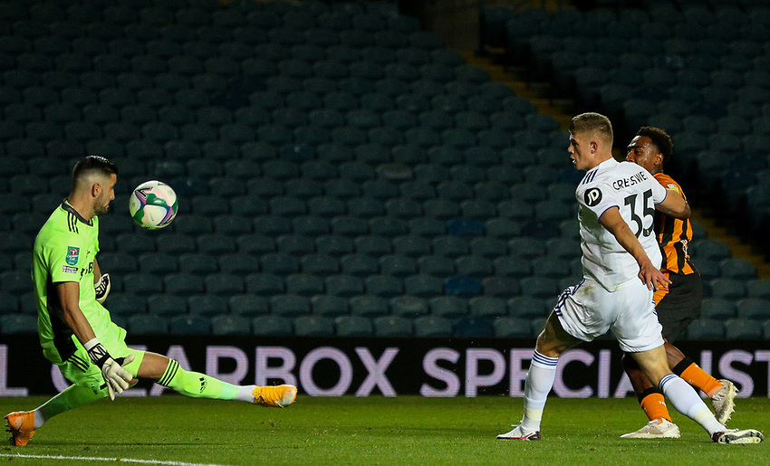 Leeds United's Kiko Casilla blocks the shot from Hull City's Mallik Wilks<br /> <br /> Photographer Alex Dodd/CameraSport<br /> <br /> Carabao Cup Second Round Northern Section - Leeds United v Hull City -  Wednesday 16th September 2020 - Elland Road - Leeds<br />  <br /> World Copyright © 2020 CameraSport. All rights reserved. 43 Linden Ave. Countesthorpe. Leicester. England. LE8 5PG - Tel: +44 (0) 116 277 4147 - admin@camerasport.com - www.camerasport.com