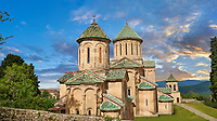 Pictures & images of Gelati Georgian Orthodox churches of (foreground) St George, 13th century, (behind) Church of the Virgin, 1106. The medieval Gelati monastic complex near Kutaisi in the Imereti region of western Georgia (country). A UNESCO World Heritage Site.