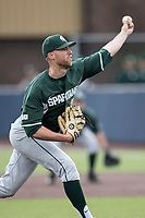 Michigan State Spartans pitcher Joe Mockbee (31) delivers a pitch to the plate against the Michigan Wolverines during the NCAA baseball game on April 18, 2017 at Ray Fisher Stadium in Ann Arbor, Michigan. Michigan defeated Michigan State 12-4. (Andrew Woolley/Four Seam Images)