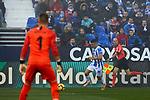 CD Leganes' Oscar Rodriguez and Sevilla FC's Tomas Vaclik during La Liga match between CD Leganes and Sevilla FC at Butarque Stadium in Leganes, Spain. December 23, 2018. (ALTERPHOTOS/A. Perez Meca)