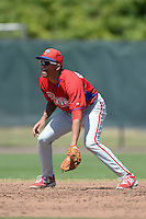 Philadelphia Phillies shortstop J.P. Crawford (2) during a minor league spring training game against the Pittsburgh Pirates on March 18, 2014 at the Carpenter Complex in Clearwater, Florida.  (Mike Janes/Four Seam Images)