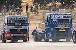 Hungarian driver Norbert Kiss belonging German team Tankpool 24 Racing German driver Stephanie Halm belonging German team Stephanie Halm during the fist race R1 of the XXX Spain GP Camion of the FIA European Truck Racing Championship 2016 in Madrid. October 01, 2016. (ALTERPHOTOS/Rodrigo Jimenez)