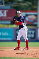 Reading Fightin Phils starting pitcher Jerad Eickhoff (43) gets ready to deliver a pitch during the first game of a doubleheader against the Portland Sea Dogs on May 15, 2018 at FirstEnergy Stadium in Reading, Pennsylvania.  Portland defeated Reading 8-4.  (Mike Janes/Four Seam Images)