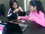 Wilson K-8 students explore physical computing with Makey Makey.