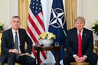 President Trump Meets with the NATO Secretary<br /> <br /> President Donald J. Trump meets with NATO Secretary General Jens Stoltenberg during a one on one meeting Tuesday, Dec. 3, 2019, at Winfield House in London. (Official White House Photo by Shealah Craighead)