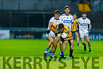 Niall McCarthy of Spa been well pinned in by Eoin Clifford of Laune Rangers in the Intermediate Football Championship Quarter final.