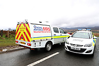 Pictured: An RAF mountain rescue vehicle travels past a police road block near the scene of a helicopter crash, Trawsfynydd, Rhinog Mountains, Snowdonia, North Wales. Thursday 30 March 2017<br /> Re: Five people have been killed in a helicopter crash in north Wales.<br /> An air and land search was launched on Wednesday afternoon after the aircraft vanished en route from Luton to Dublin.<br /> The crash site was in the Rhinog mountains between Harlech and Trawsfynydd, and the bodies of all five people on board had been found by a mountin rescue team.