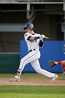Princeton Rays catcher Roberto Alvarez (13) hits a single during the first game of a doubleheader against the Johnson City Cardinals on August 17, 2018 at Hunnicutt Field in Princeton, Virginia.  Johnson City defeated Princeton 6-4.  (Mike Janes/Four Seam Images)