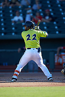 Walter Rasquin (22) of the Columbia Fireflies at bat against the Rome Braves at Segra Park on May 13, 2019 in Columbia, South Carolina. The Fireflies walked-off the Braves 2-1 in game one of a doubleheader. (Brian Westerholt/Four Seam Images)